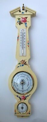 Vintage West German Hand Painted Wooden Barometer Thermometer Unique VGC