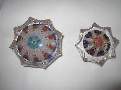 Paperweight  Millefiori 8 Faceted  Pretty Good Condition x 2