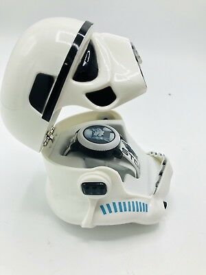 Disney Star Wars Watch in Collectible Helmet Box WHITE/BLACK/BLUE DIGITAL WATCH
