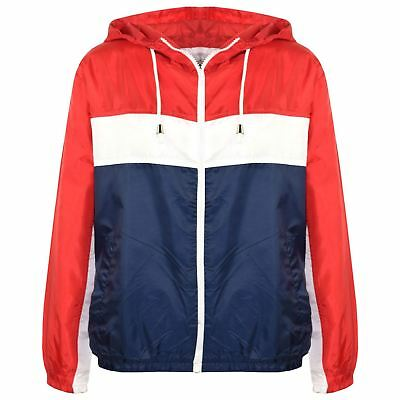 Kids Boys Girls Windbreaker Contrast Block Red Hooded Jackets Rain Mac Raincoats