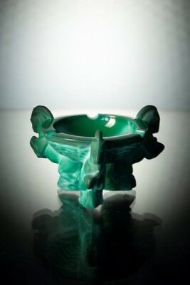 Jade Malachite Art Deco Czech Bohemian Glass Pegasus Ashtray Arthur Plewa Bowl