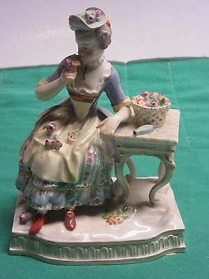 Antique Meissen Sense of Smells figurine lady holding bouquet of flowers