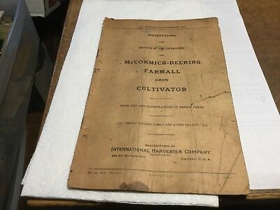 Vintage McCormick-Deering Farmall 2Row Cultivator Operating Instructions