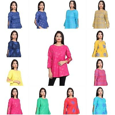Indian Ethnic Elbow Cut  3/4th Trendy Sleeves Short Kurti tops For Girls Womens