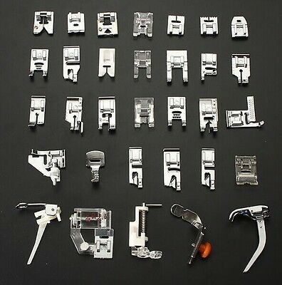 32pcs Domestic Sewing Machine Presser Foot Feet Kit Set Brother Singer Janom