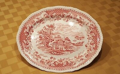 """Vintage Wood & Sons Red """"Seaforth"""" Transferware Platter – Made in England"""
