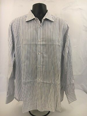 Mens BRIONI White Black Blue Stripped Button Down Shirt Sz 17 Italy