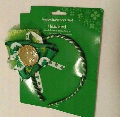 Headband Green White Gold Sequin Various Lace Happy St PatricksDay Accessory NIP