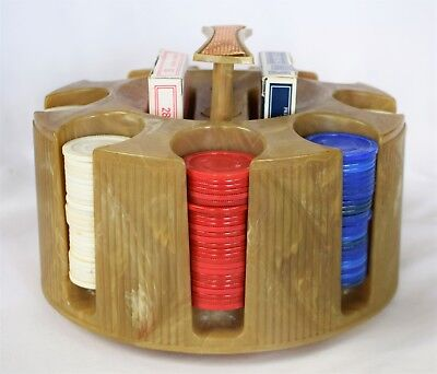 Vintage LOWE Plastic Marbled Carousel Poker Chip Holder Caddy w/ Chips & Cards