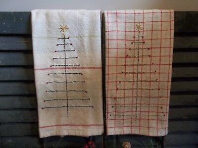 An Early Christmas Offering - Pair of Cotton Towels-Hand Stitched Feather Trees