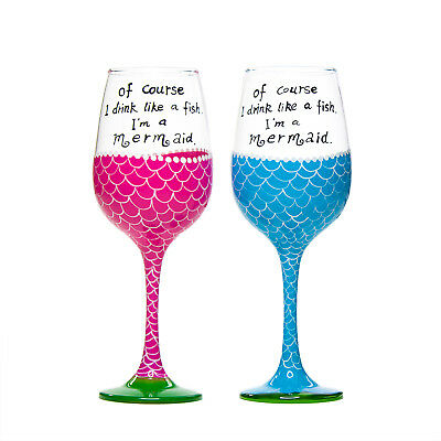 """MERMAID WINE GLASS """"Of course I drink like a fish I'm a mermaid"""" Pink Or Blue"""