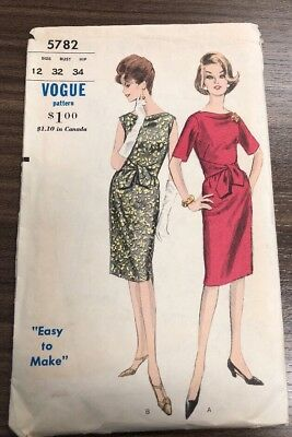 Vogue Printed Pattern 5782 Size 12 1960s