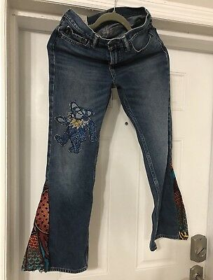Dead head  halloween youth Abercrombie kids 14 slim bell bottoms  hippie