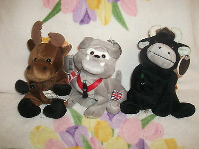 3 Coca Cola brand Bean Bag International Animals - Moose Bulldog Toro the Bull