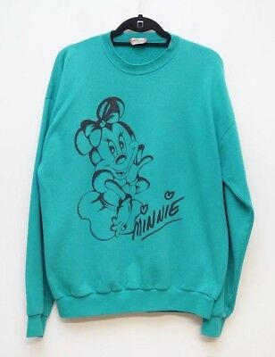 Vintage Disney Designs XXL Minnie Mouse Sweatshirt Teal Long Sleeve Crew Neck