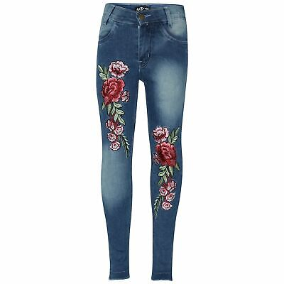 Kids Girls Stretchy Jeans Roses Embroidered Mid Blue Denim Pants Trouser Jegging