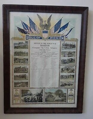 WWI US Army Roll of Honor Service Lithograph CAMP CUSTER MICHIGAN 78th Infantry