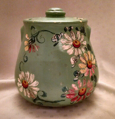 Vintage Ransburg Pottery Cookie Jar Baby Green with Daisies