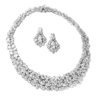 Mariell Cubic Zirconia Jewelry Necklace & Earrings Set for Weddings or Pageants