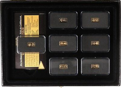 7 Goldbarren - Gold of the World - im Etui mit Zertifikaten - PP