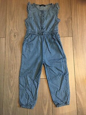 *** GEORGE: Girls Short Sleeved Playsuit 18-24 Months - Blue Spotty