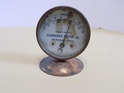 Fluckinger Motor Co. Dubuque Iowa Table Top Metal Thermometer 1921