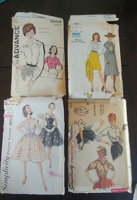 Vintage Sewing Patterns Simplicity 1692, 3384 Vogue 7903 Advance 9909 Pre-owned