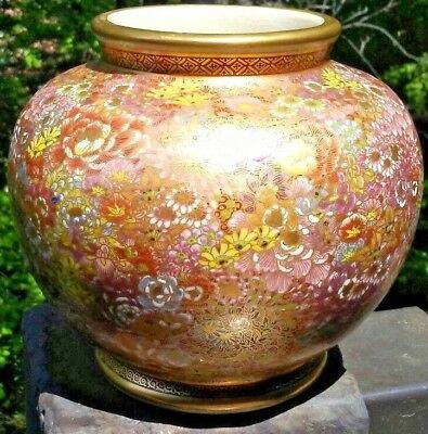 Antique Japanese Satsuma Meiji millie fori Gold gilt hand painted vase signed