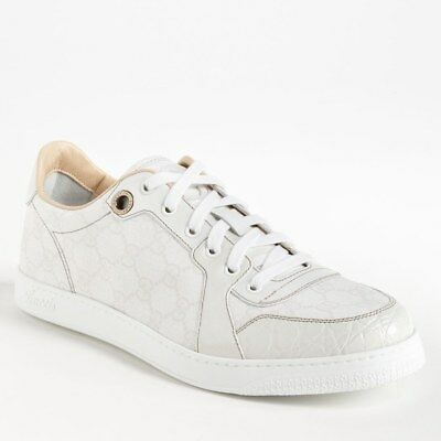 a4b3aa5a1 Gucci Men's Coda Low Python Textured Interlocking G White Leather Sneakers