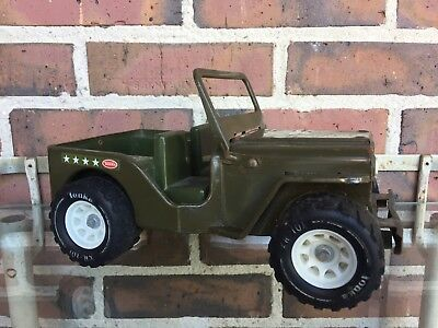 "Vintage 1960's/1970's Tonka Army Jeep 10"" Pressed Steel Toy"