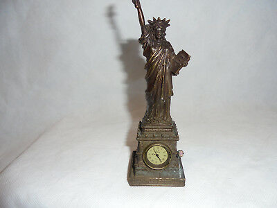 Antique/Vintage cast brass miniture 'Statue of Liberty' wind up ornate clock.