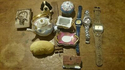 job lot small collectables, all sorts of vintage items. Watches, dog models etc