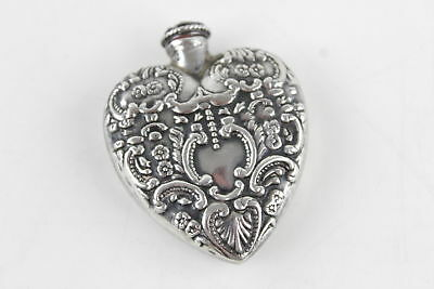 Vintage .925 STERLING SILVER Ladies Heart Shaped Perfume / Scent Bottle 20g