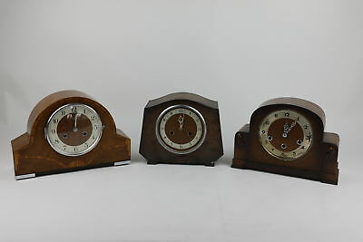 3 x Vintage Wooden Case Key Wind Mantel Clocks Spares & Repairs