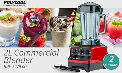 Commercial PolyCool 10 Speed Electric Blender in Red 2L 2200W