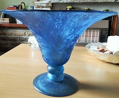 Large Etched Glass Italian Dish/bowl - Unusual Art Work - Blue - 2.125 Kilos