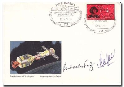 ASTP suppost astro/cosmonaut Truly + Avdeyev handsigned cover - 9g166