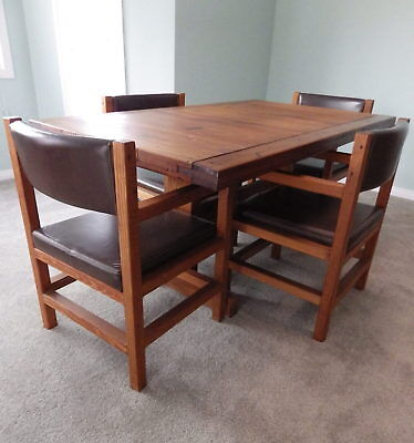 This End Up solid wood dining table set rustic 4 Mission chairs Local pickup