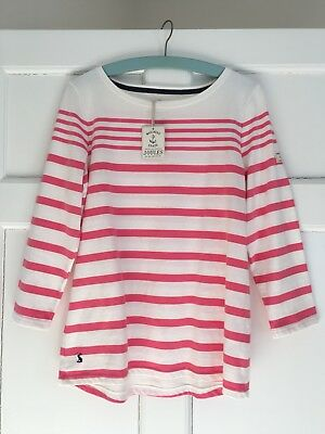 Joules Ladies pink & white stripe long sleeved T shirt BNWT size 12 Cotton