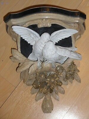 Large Wooden Antique Black Forest Doves and Flowers Wall Sconce Carving