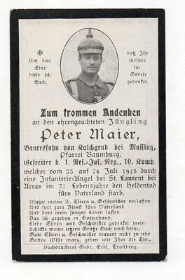 Ww1 German Death Card Peter Maier-1Rir 10 Kmp-Fell 24 Jul1915 St Laurent Arras