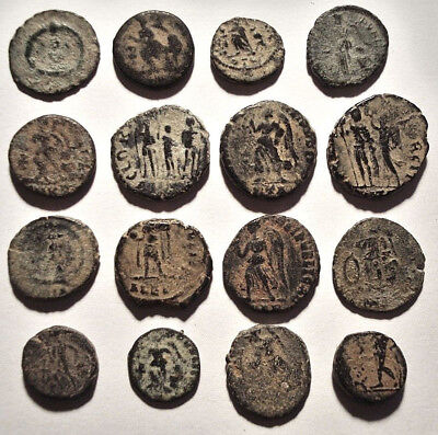 Lot of 16 Æ4 Ancient Roman Bronze Coins from IV.-V. Century