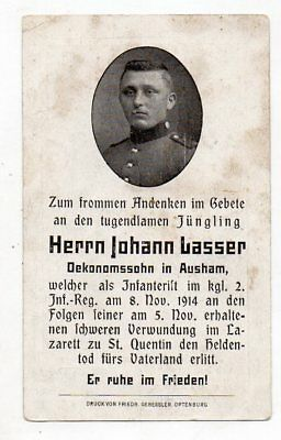 Ww1 German Death Card Johann Lasser-2 Inf Rgt-Died 8 Nov 1914 St Quintin