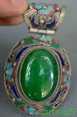 Collectable Chinese Style Miao Silver Armor Jade Carve Flower Royal Rare Pendant