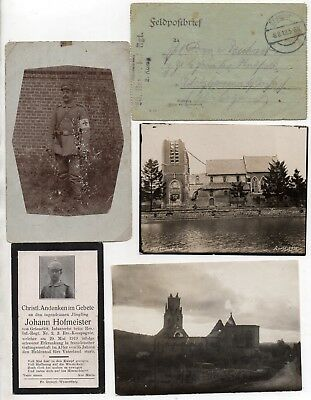 Ww1 German Feldpost Letter+Photos+Death Card Johann Hofmeister 2 Rir 3 Ers Kmp