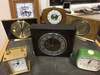 Job Lot Vintage Clocks Some From 1960`s And 1970 X 7 Antique Spares And Repairs