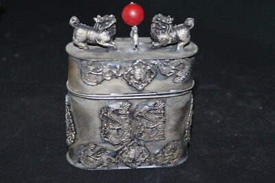 Decor Exquisite Miao Silver Carved Dragon Phoenix & Two Lion Lucky Toothpick Box