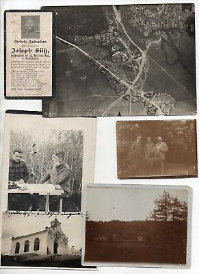 Ww1 German Photos-Aerial View +Death Card Joseph Suss-22 Rir 9 Kmp-13Aug1916