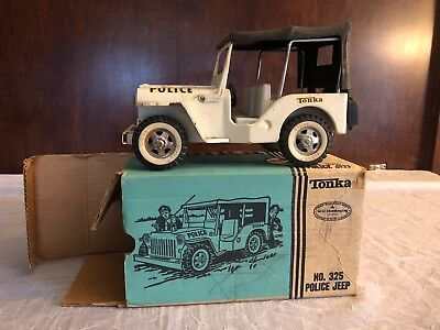 1960s vintage Tonka Police Jeep No. 325 with the Box.