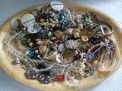 Large Job Lot Mainly Vintage Costume Jewellery.spares Repairs/harvest.mixed Ages